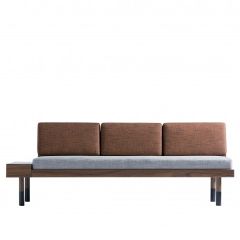 MID Straight sofa - Grey, brick red