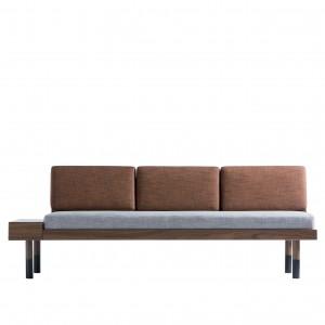 MID Straight sofa - Grey, brick red