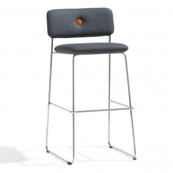 DUNDRA Bar stool with backrest - Chrome - Fabric
