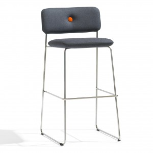 DUNDRA Bar stool with backrest - Fabric