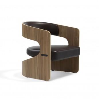 Chaise LUCKY Lounge - Chêne / Cuir
