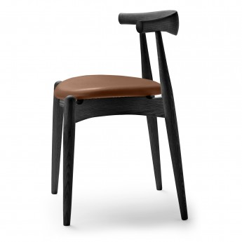 Chaise ELBOW noire - Assise cuir