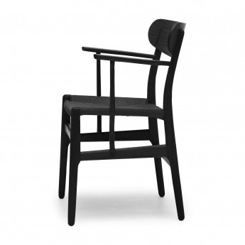 DINING chair with armrest black oak - Black
