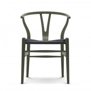 Chaise WISHBONE hêtre vert olive- Noir