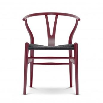 Chaise WISHBONE hêtre rouge cerise - Noir