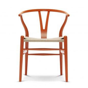 Chaise WISHBONE hêtre orange rouge - Naturelle