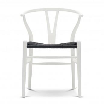 Chaise WISHBONE hêtre blanc - Noir