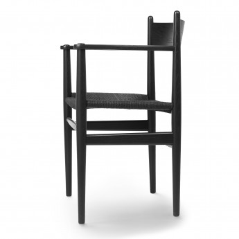DINING chair with armrest CH37 black oak - Black