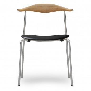 Chaise DINING CH88P - Acier - Cuir - Chêne huilé