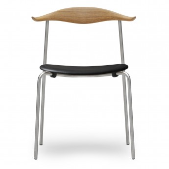 DINING chair CH88P - Steel - Leather
