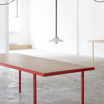 WOODEN rectangular table - Red - 240 cm