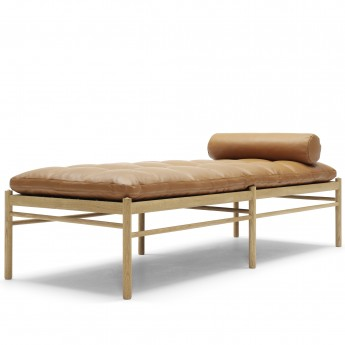 Daybed OW150 avec repose nuque - Chêne huilé - Cuir Thor
