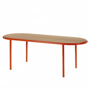 WOODEN Oval table - Red