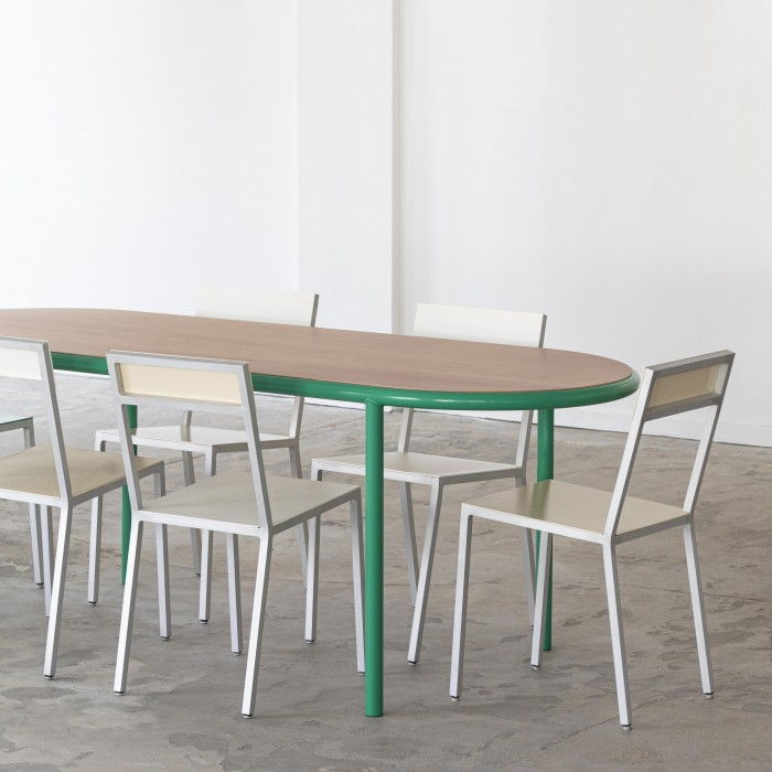 WOODEN Oval table - Green