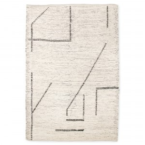 Hand woven cotton rug - Cream/charcoal