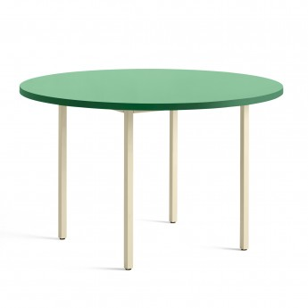 TWO COLOUR round table - ivory and green mint