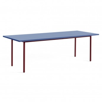 TWO COLOUR rectangular table - red and blue