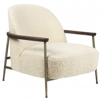 Lounge chair Sejour - Ivory with walnut armrest