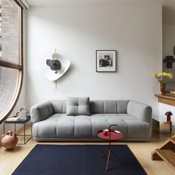 QUILTON 3 seaters sofa - Linen Grid Adriatic blue - HAY