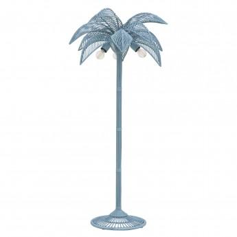 Lampadaire PALM - rotin bleu gris
