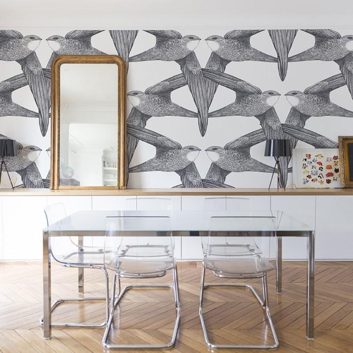 papier peint birds bien fait. Black Bedroom Furniture Sets. Home Design Ideas
