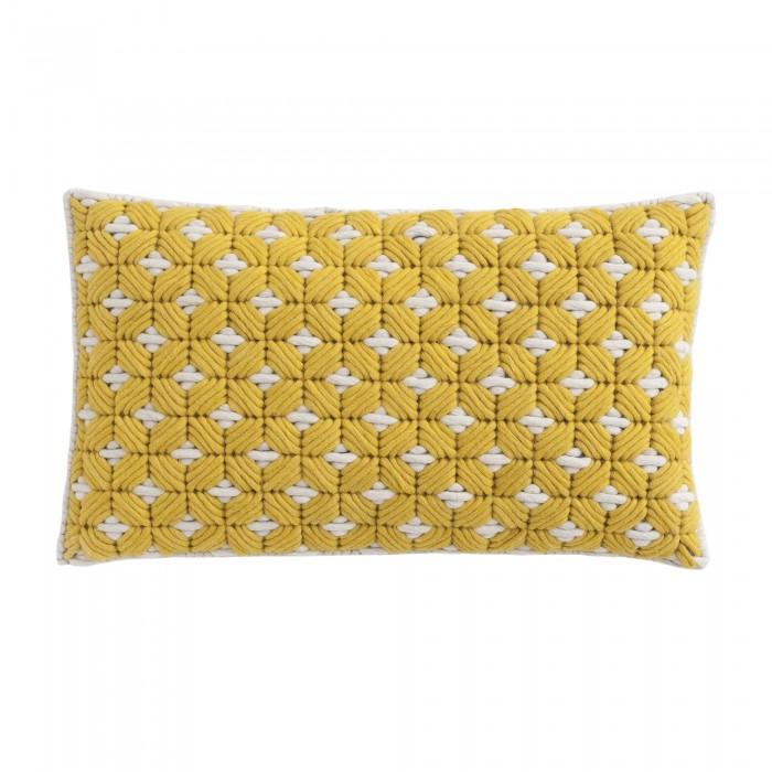 Coussin SILAÏ rectangle jaune-blanc